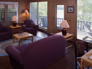 Windfall Cottage living room at at Elk Lake Lodge.