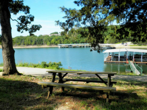 Picnic by the lake at Calm Waters Resort.