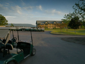 Resort from golf course at Bristol Harbour Resort.