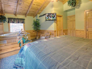 Cabin bedroom at Eagles Ridge Resort.