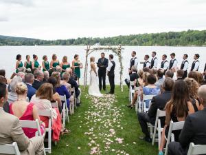 Lakeside wedding ceremony at Interlaken Resort & Conference Center.