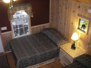 Cabin bed at Darien Lake Resort.