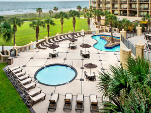 Pool and patio view at Springmaid Beach Resort.