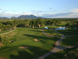 Aerial view of golf course at Tubac Golf Resort.