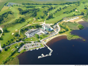 Aerial view of Hodson Bay Hotel.