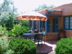 Exterior with patio at Pueblo Bonito.