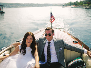 Wedding couple on boat at Bay Harbor Resort and Marina.