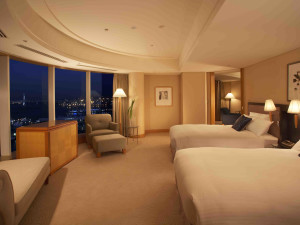 Guest room at The Yokohama Bay Hotel Tokyu.