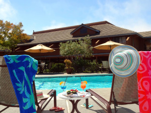 Relaxing by the pool at Best Western Seacliff Inn.