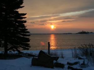 Sunset over Lake Superior at Cobblestone Cove Villas.