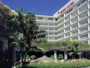 Exterior view of The Beverly Hilton.
