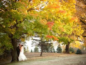 Wedding couple at Five Lakes Resort.