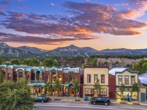City sunset at Summit Vacations.