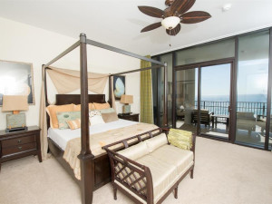 Vacation rental bedroom at Luxury Coastal Vacations.