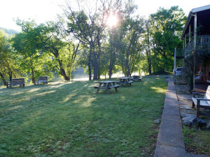 Grounds and picnic tables at Fulton's Lodge.
