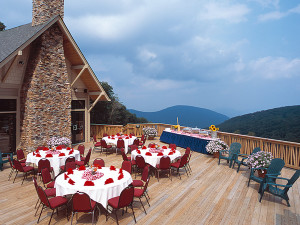 Wedding banquet outside on deck at Wintergreen Resort.