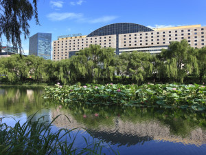 Exterior view of Kempinski Hotel Beijing Lufthansa Center.