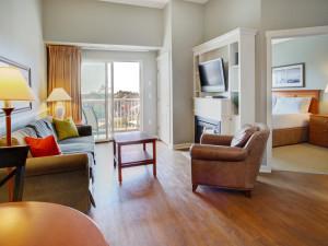 Guest room at Rivertide Suites Hotel.