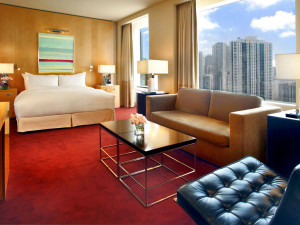 Guest room at Sofitel Chicago Water Tower.