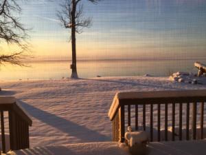 Winter sunrise at The Red Door Resort.