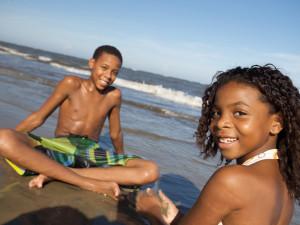 Children on the beach at Hampton Inn & Suites Jekyll Island.