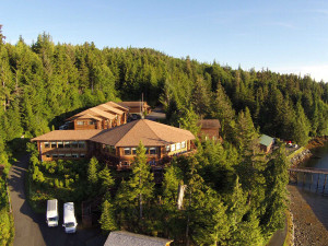 Aerial view of Salmon Falls Resort.