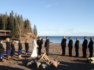 Beach wedding at Lutsen Resort on Lake Superior.
