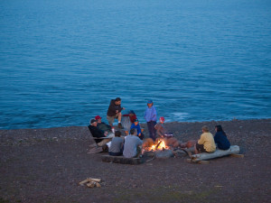 Bonfire at Lutsen Resort on Lake Superior.