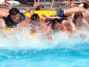 Splashing around the swimming pool at Woodloch Resort