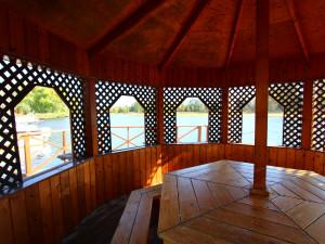 Gazebo interior at Zippel Bay Resort.