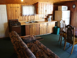 Cabin interior at Hook Line & Sucher Resort.
