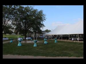 Outdoor wedding reception at Coachman's Golf Resort.