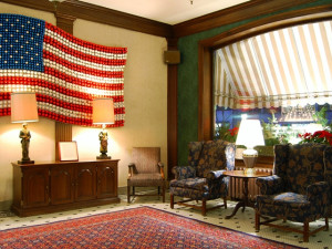 Hotel lobby at Penn Wells Lodge.