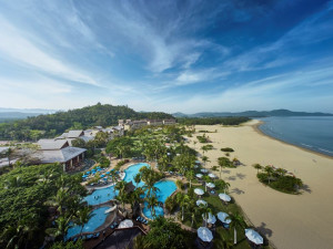 Aerial view of Shangri-La's Rasa Ria Resort.