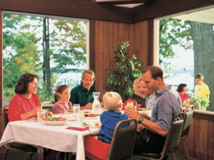 Dining at White Birch Lodge.