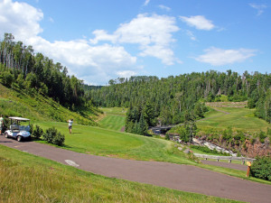 Golfing at Lutsen Resort on Lake Superior.