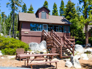 Cabin exterior at Meeks Bay Resort & Marina.