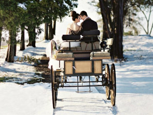 Wedding couple on carriage at Salamander Resort & Spa.