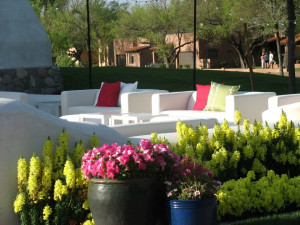 Outdoor sitting area at Tubac Golf Resort.