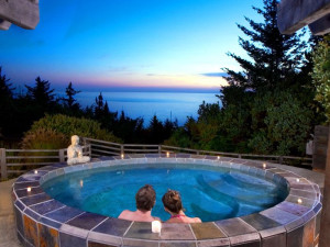 Relax in the hot tub at WildSpring Guest Habitat.