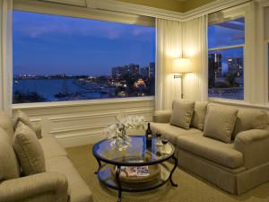 Penthouse suite sitting area at Glorietta Bay Inn.