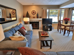 Condo living room at Trout Creek Condominium Resort.