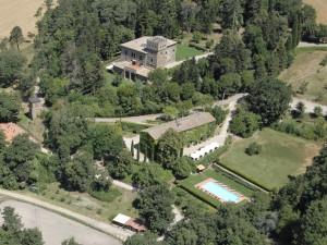 Aerial view of Il Castello di S. Cristina.