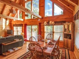 Vacation rental living room at Stony Brook Chalets.