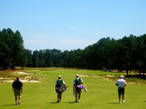 Playing golf at Pinehurst Resort.