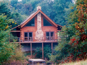 Cabin exterior at Honey Fork Properties.