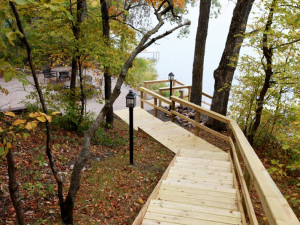 Stairway to lake at East Silent Resort.