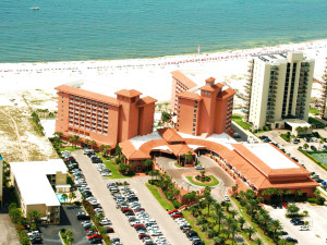 Aerial view of Perdido Beach Resort.