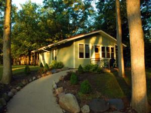 Cottage exterior at Oakwood Resort.