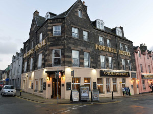 Exterior view of Portree Hotel.